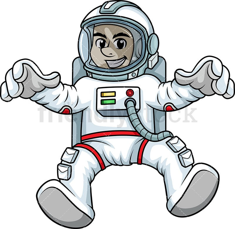 Male Cosmonaut Floating In Space Backwards Cartoon Clipart