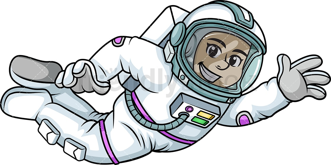 female astronaut flying in space cartoon vector clipart friendlystock rh friendlystock com clipart astronaut helmet clipart astronaut holding flag