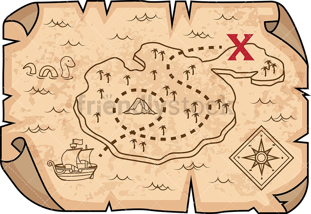Treasure Map on a map of life, a map of love, a map of home, a map of cascade, a map of roosevelt, a map of jupiter, a map of sahara, a map of time, a map of ocean, a map of odyssey,