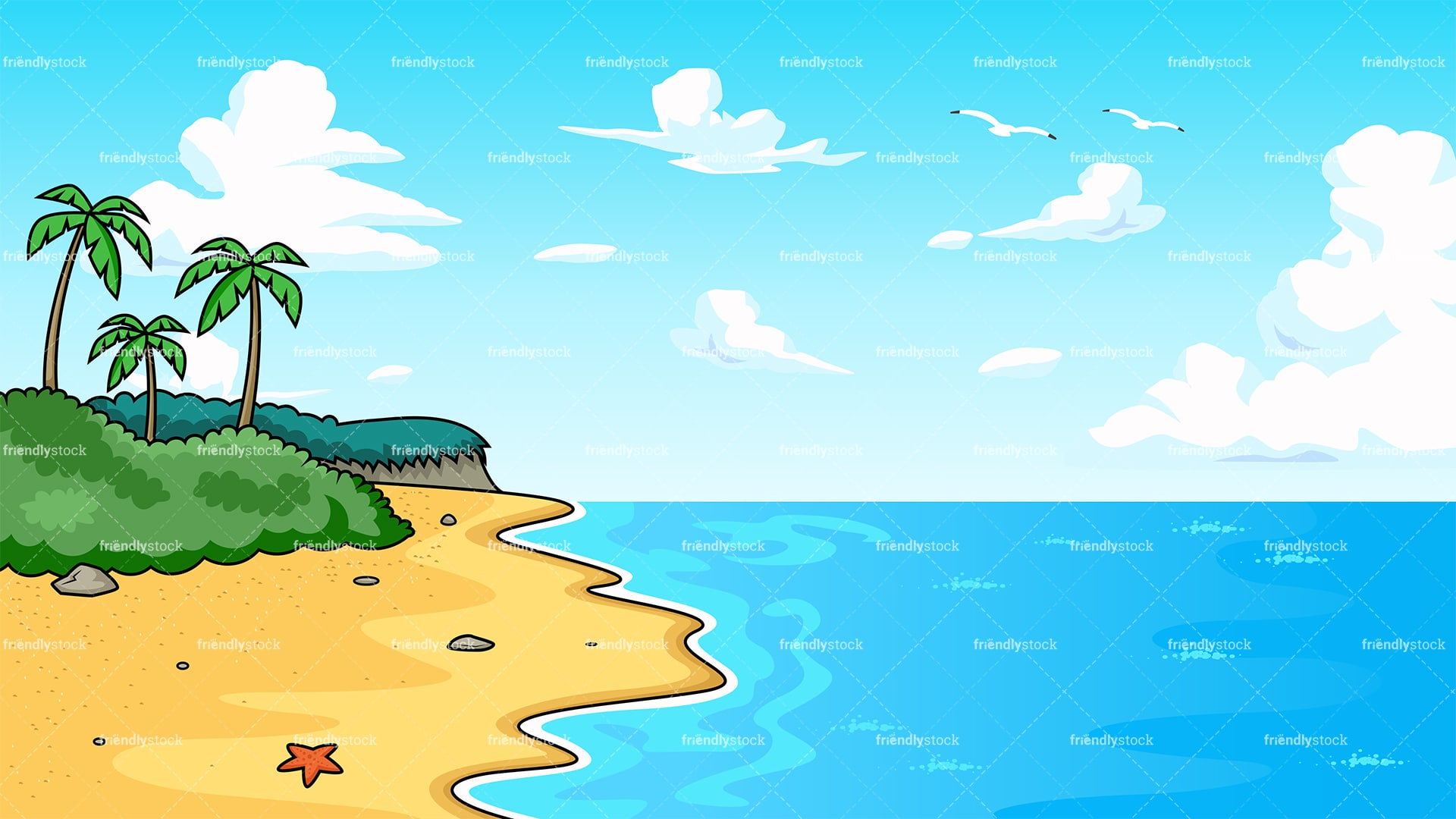 tropical beach with serene waters background cartoon clipart