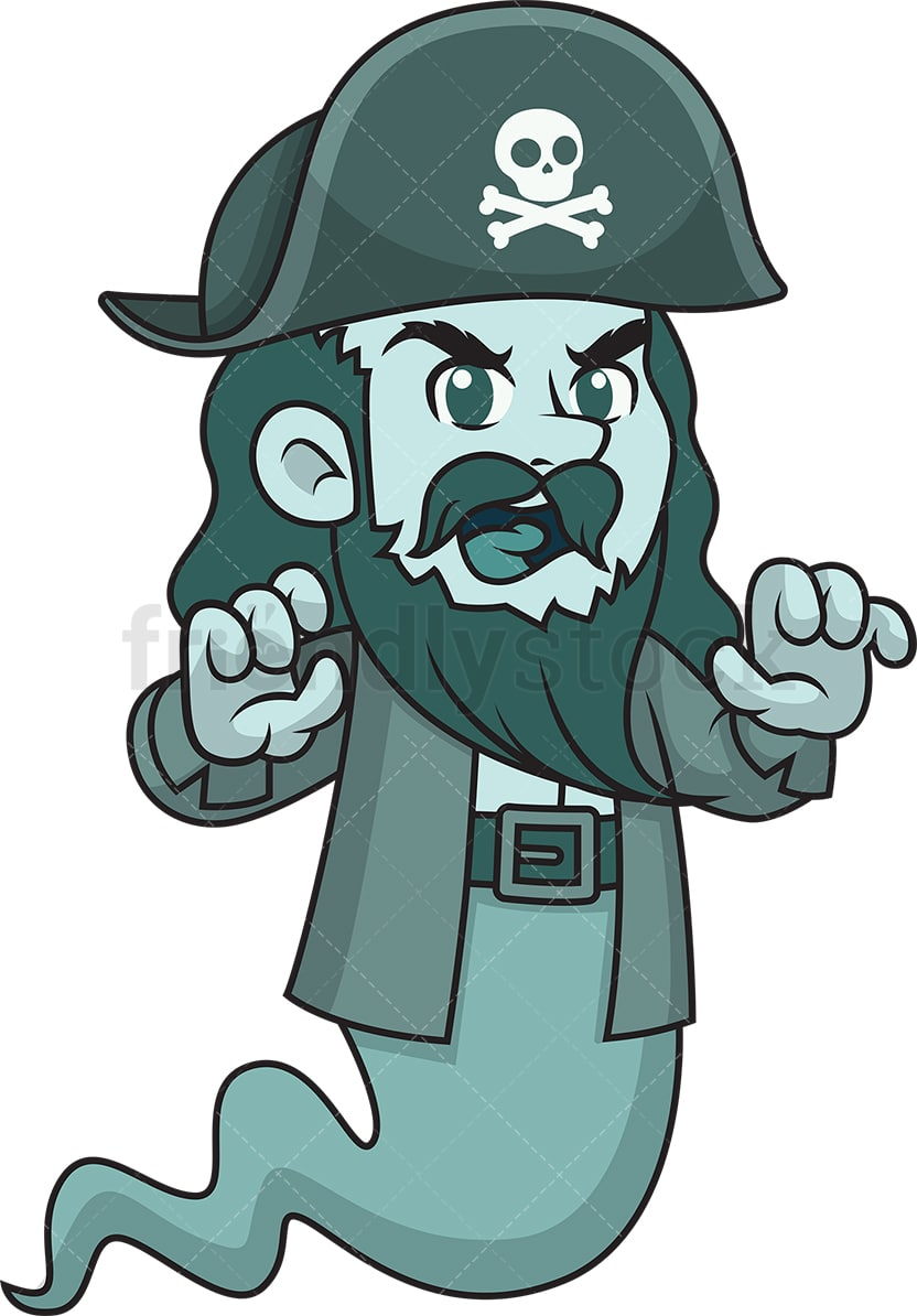 Scary Pirate Ghost Cartoon Clipart Vector Friendlystock