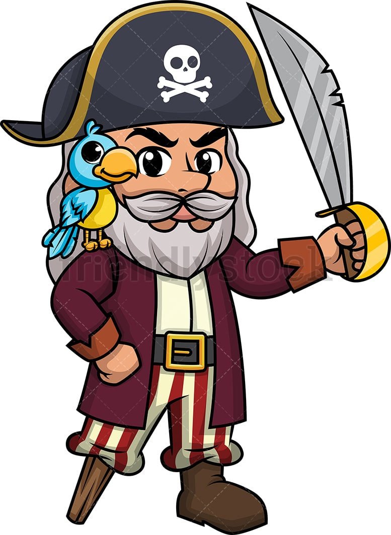 Old Pirate Cartoon Clipart Vector Friendlystock