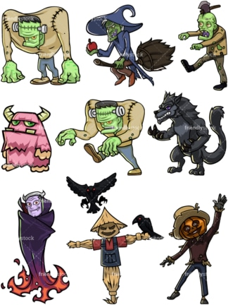 Halloween monsters. PNG - JPG and vector EPS file formats (infinitely scalable).