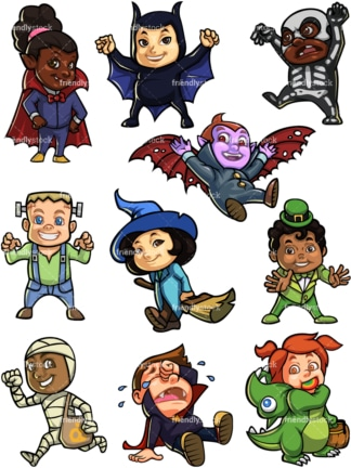Kids in halloween costumes. PNG - JPG and vector EPS file formats (infinitely scalable).