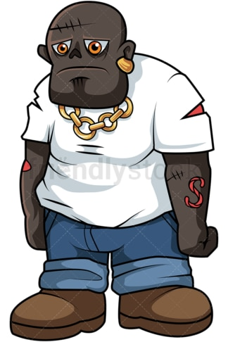 Black male zombie cartoon. PNG - JPG and vector EPS (infinitely scalable).