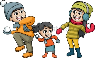 Family throwing snowballs at each other. PNG - JPG and vector EPS file formats (infinitely scalable). Image isolated on transparent background.
