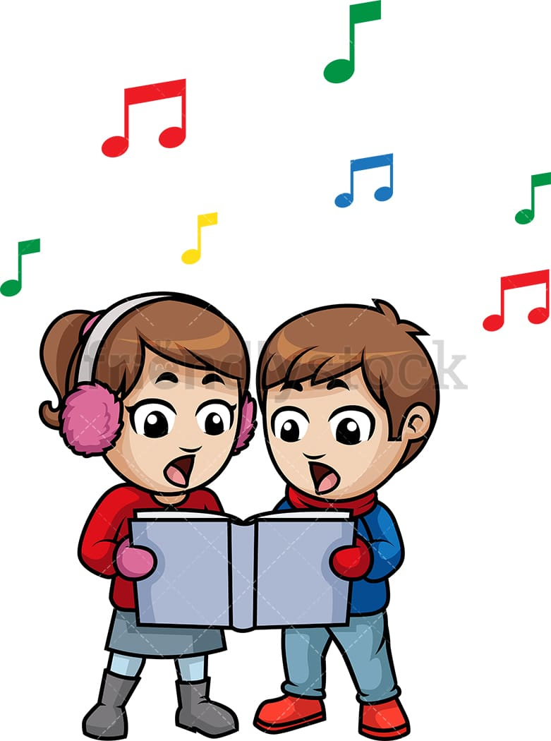 Kids Singing Christmas Carols Cartoon Vector Clipart - FriendlyStock