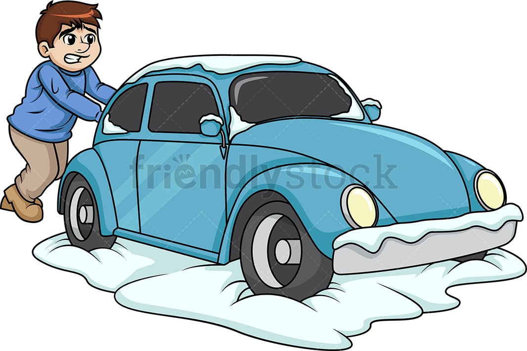 man pushing car stuck in snow cartoon clipart vector friendlystock