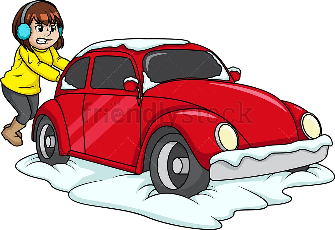 woman pushing car out of snow cartoon clipart vector friendlystock