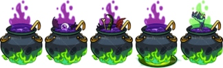 Creepy witch cauldrons. PNG - JPG and vector EPS file formats (infinitely scalable). Image isolated on transparent background.