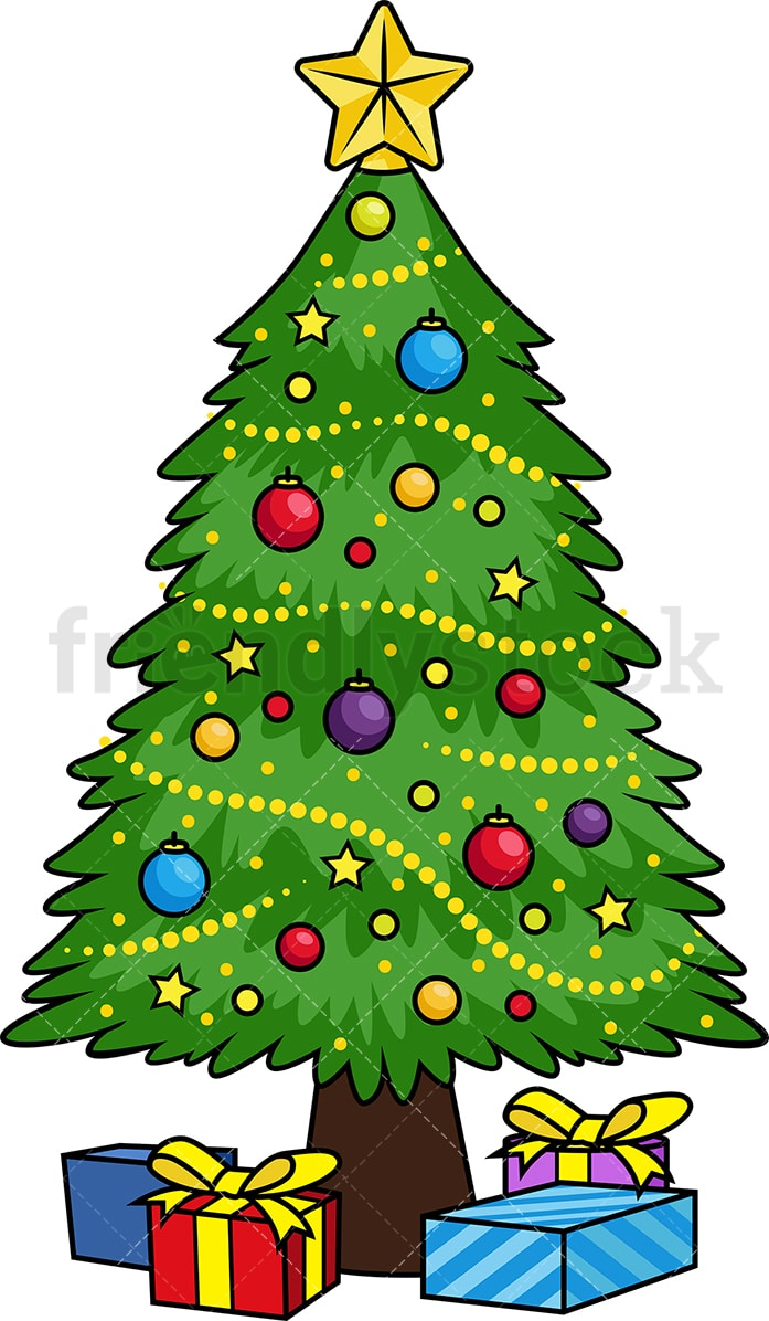 Christmas Tree Vector.Decorated Christmas Tree