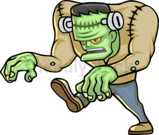 Walking zombie frankenstein monster cartoon character. PNG - JPG and vector EPS (infinitely scalable).