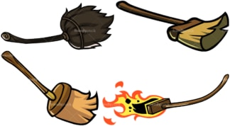 Witch brooms. PNG - JPG and vector EPS file formats (infinitely scalable). Image isolated on transparent background.