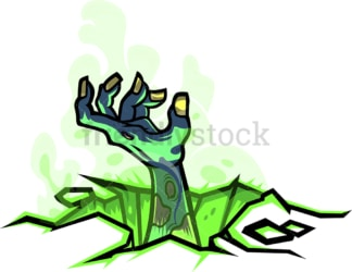 Zombie hand coming out of the ground. PNG - JPG and vector EPS file formats (infinitely scalable). Image isolated on transparent background.