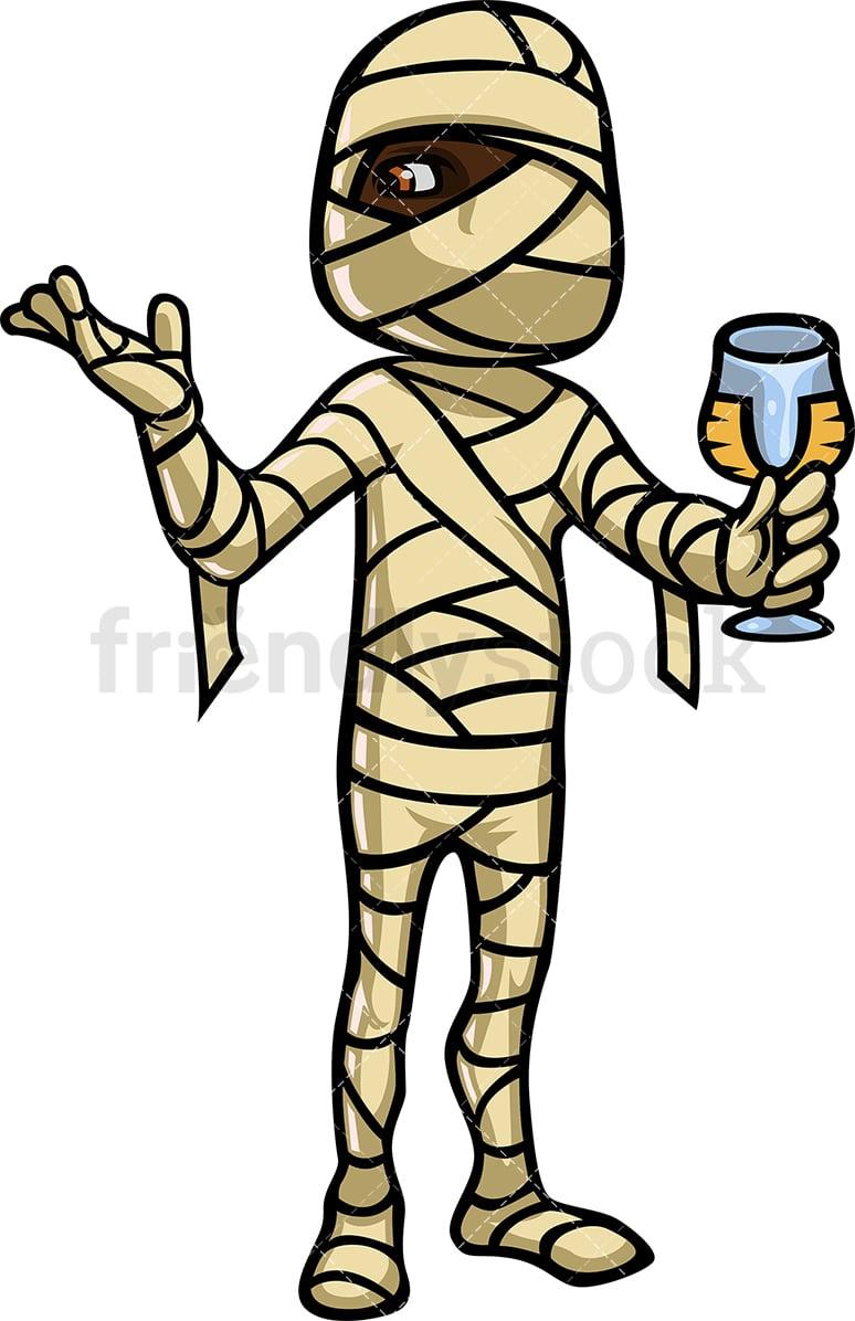 Black Man In Mummy Halloween Costume Cartoon Clipart Vector Friendlystock