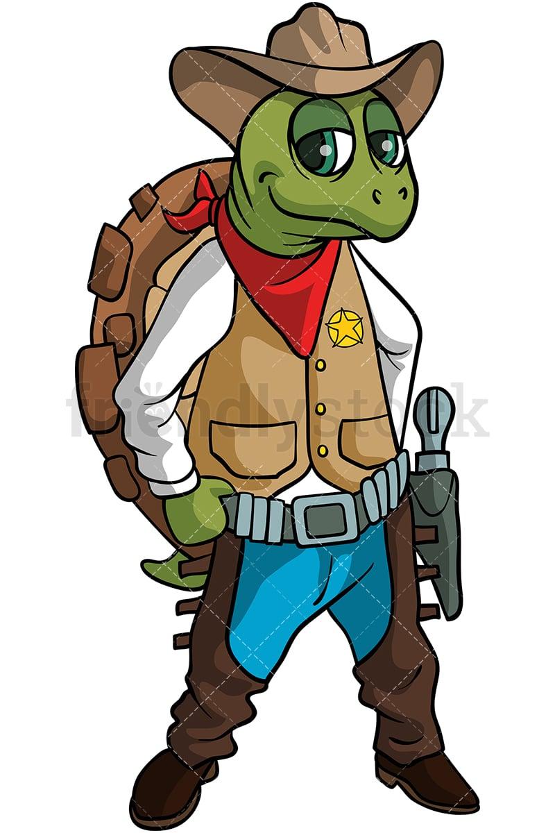 Turtle Cowboy Cartoon Clipart Vector Friendlystock