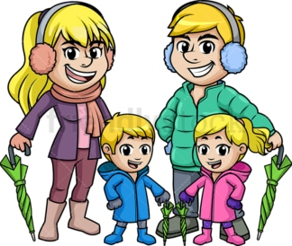Winter family dressed for rain. PNG - JPG and vector EPS (infinitely scalable).