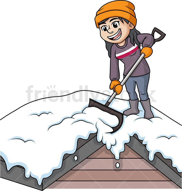 woman shoveling snow off of rooftop cartoon clipart vector
