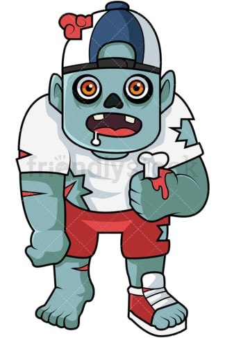 Child zombie holding bone cartoon. PNG - JPG and vector EPS (infinitely scalable).