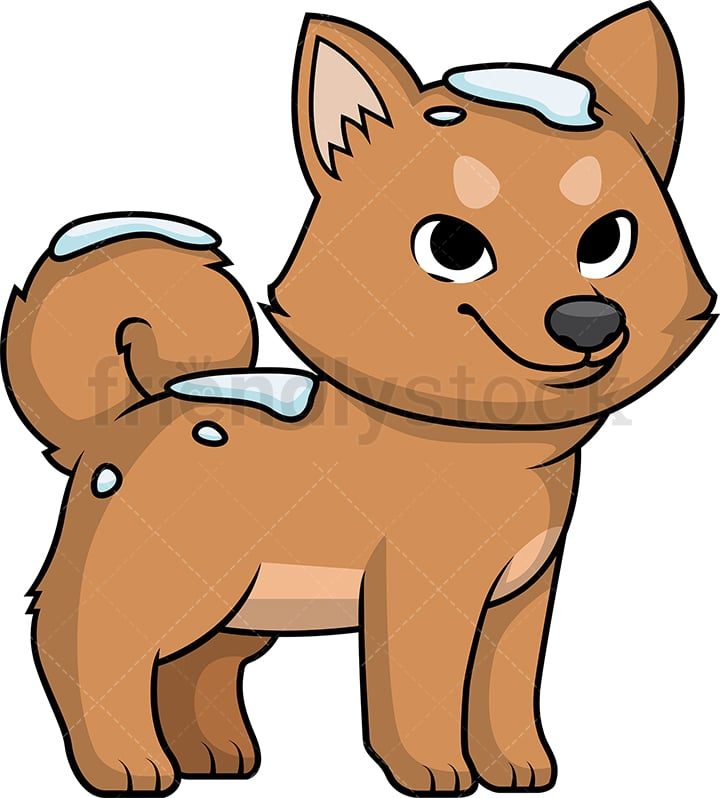 Cute Dog Out In The Snow Cartoon Clipart Vector Friendlystock