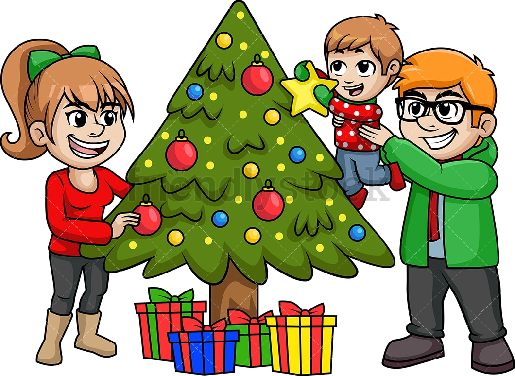 Christmas Cartoon Images.Family Decorating Christmas Tree