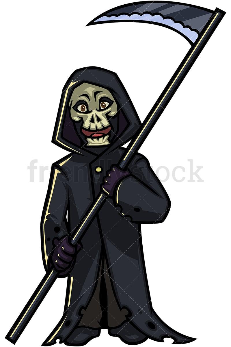 Halloween Grim Reaper Cartoon Clipart Vector Friendlystock