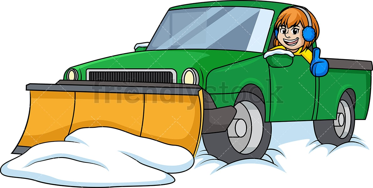 Woman In Snow Plow Truck Cartoon Clipart Vector Friendlystock