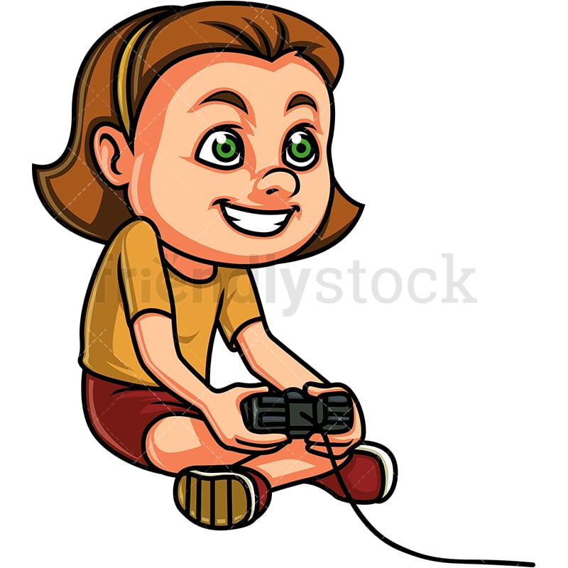 Little Girl Playing Video Games Cartoon Clipart Vector Friendlystock