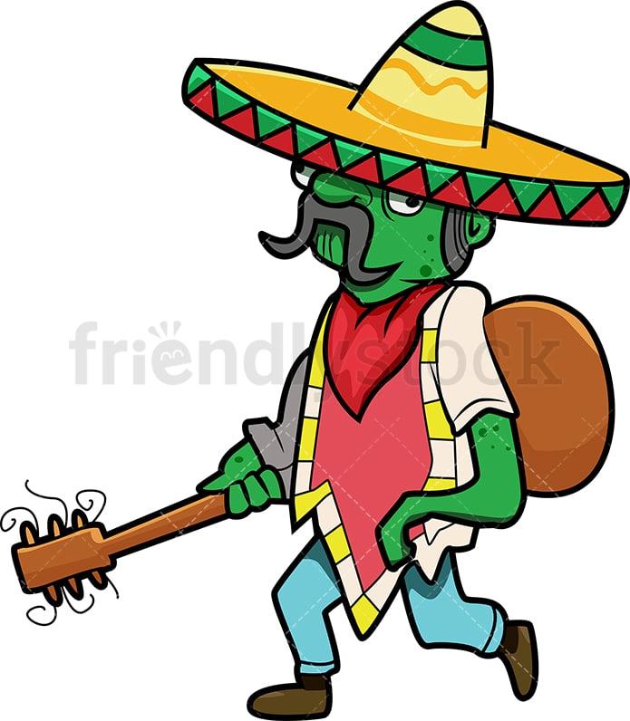 Mexican Zombie With Guitar And Sombrero Cartoon Clipart Vector Friendlystock