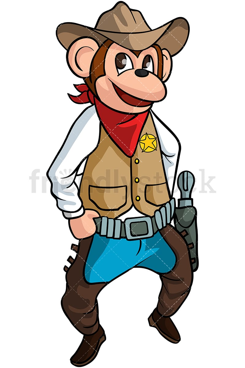 Monkey Cowboy Cartoon Clipart Vector - FriendlyStock 87e874941344