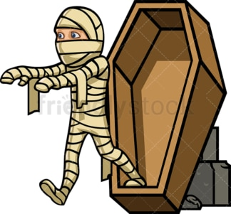 Mummy stepping out of coffin. PNG - JPG and vector EPS file formats (infinitely scalable).
