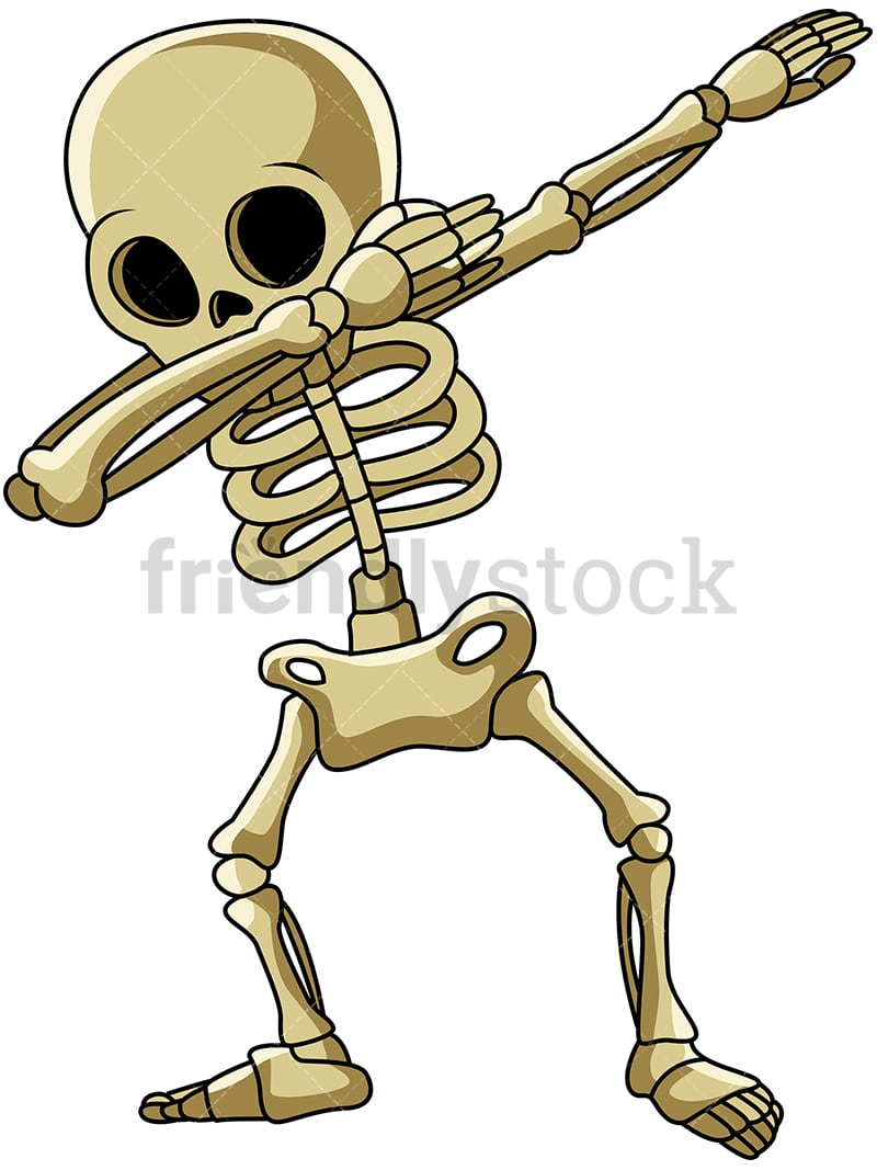 Dabbing Skeleton Cartoon Clipart Vector Friendlystock