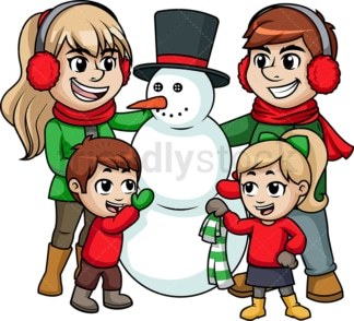 Family building a snowman. PNG - JPG and vector EPS file formats (infinitely scalable). Image isolated on transparent background.