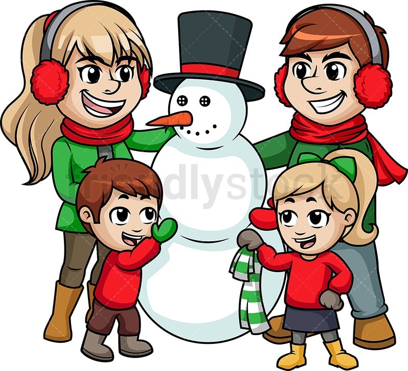 Family Building A Snowman Cartoon Vector Clipart Friendlystock