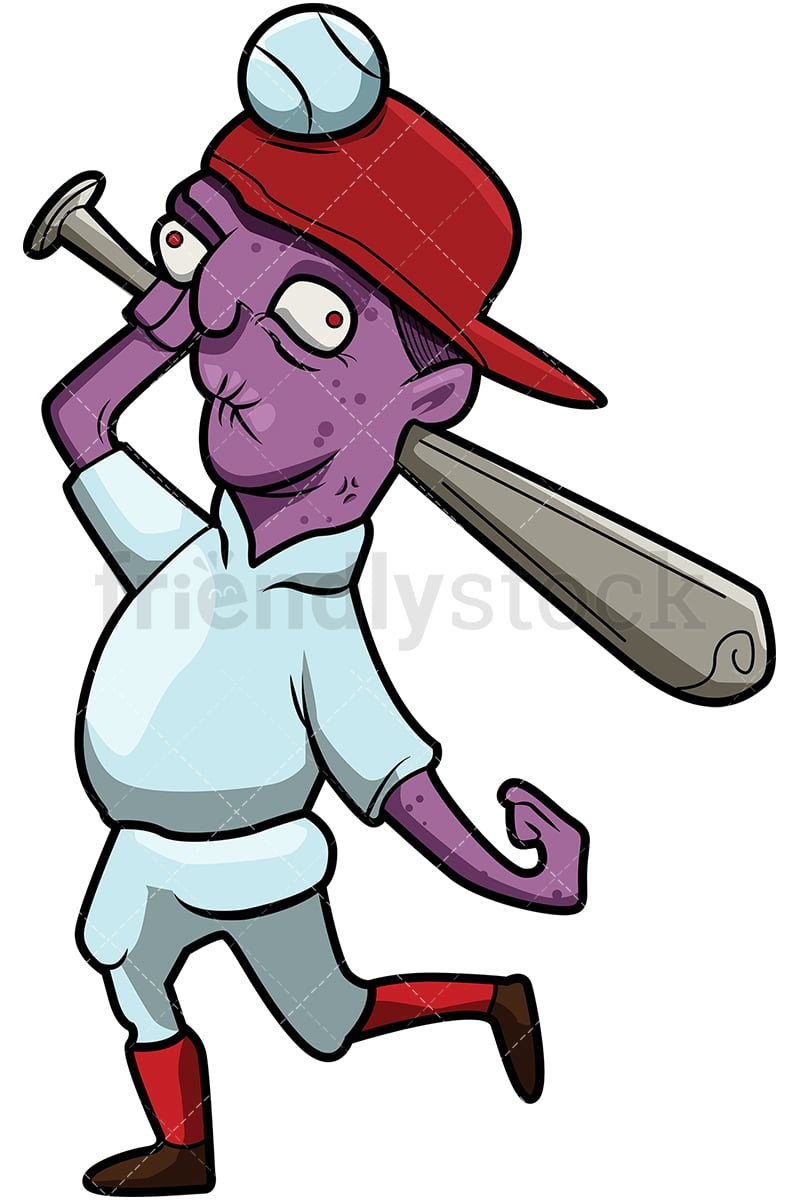 A Picture Of A Cartoon Bat funny baseball player zombie with a bat and no teeth