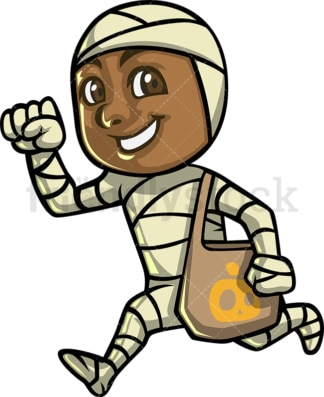 Little black boy trick or treating. PNG - JPG and vector EPS (infinitely scalable).
