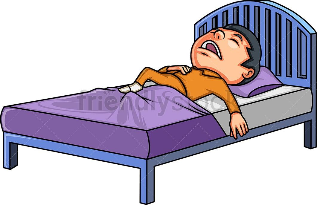 Little Boy In Bed Cartoon Clipart Vector Friendlystock