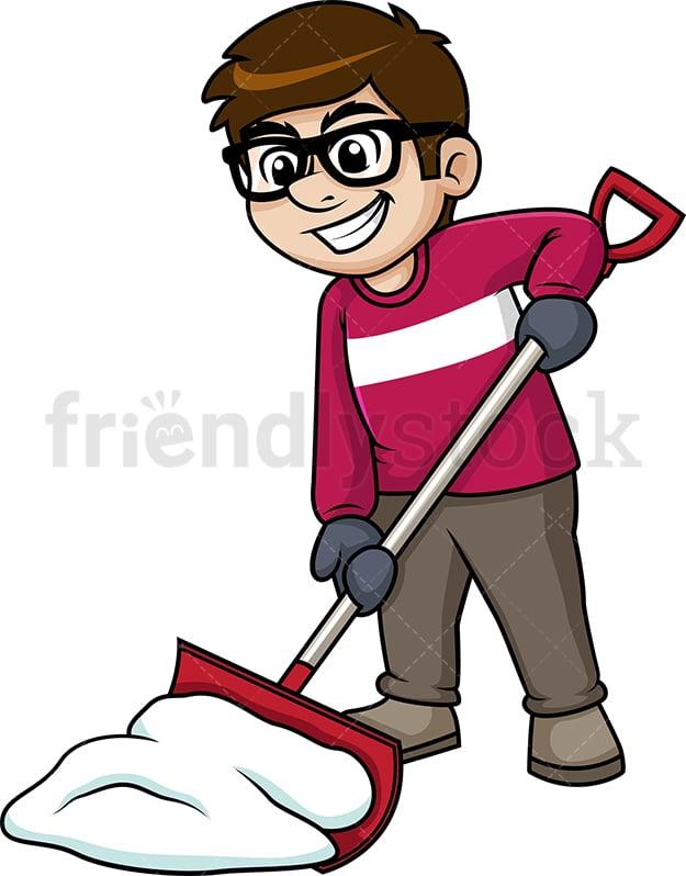 man shoveling snow cartoon clipart vector friendlystock