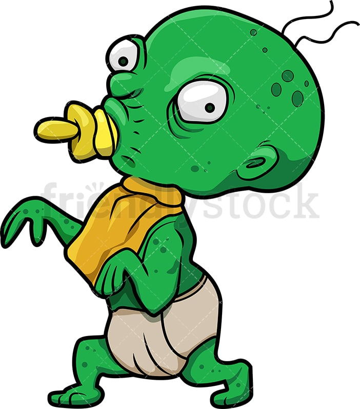 funny baby zombie with pacifier cartoon clipart vector friendlystock