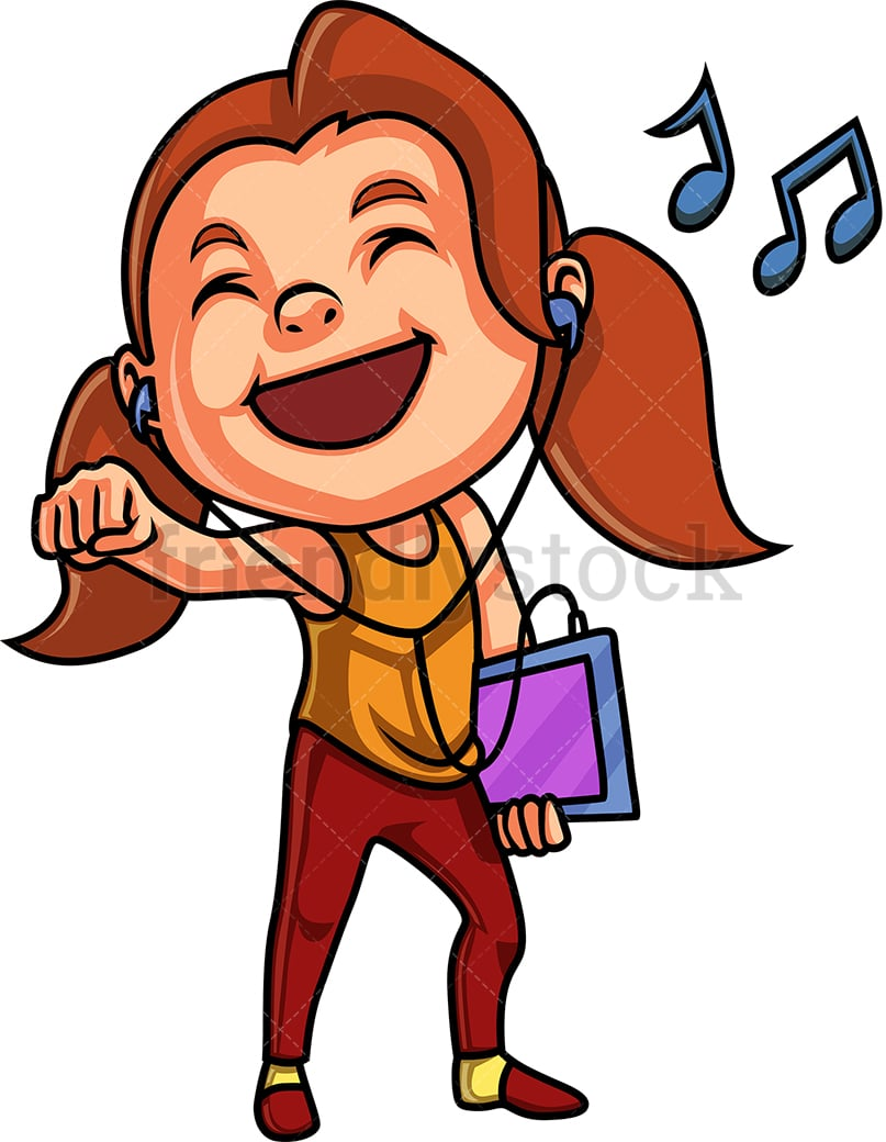 girl listening to music from tablet cartoon clipart vector