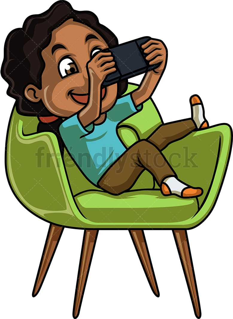 Black Girl Playing Video Game On Handheld Console