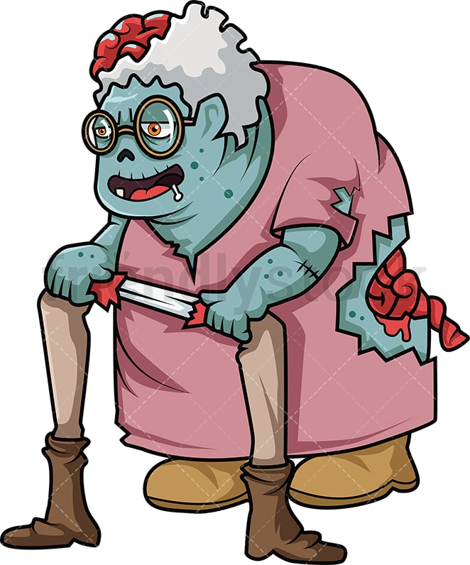 Old Lady Zombie Cartoon Clipart Vector Friendlystock