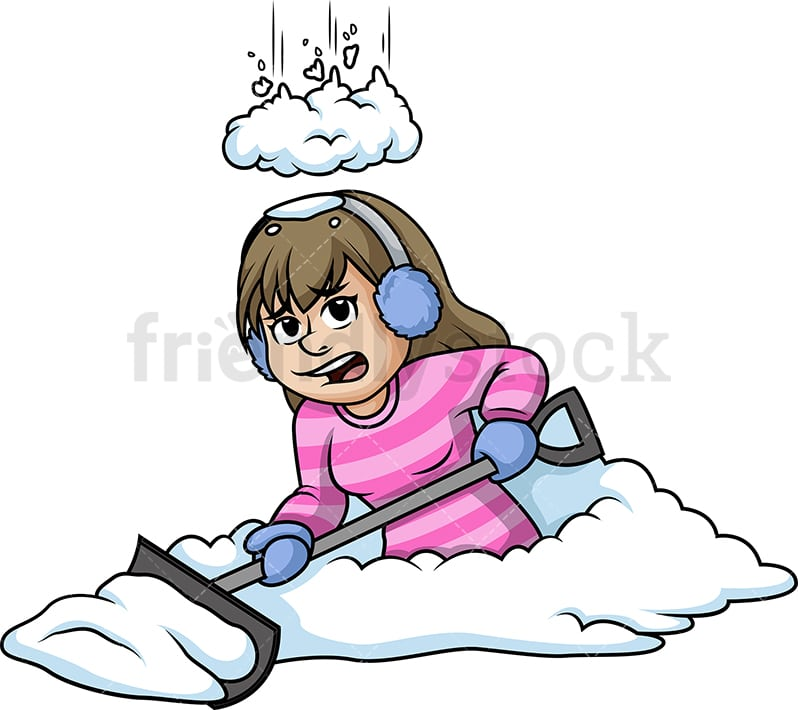 snow falling on a woman while shoveling cartoon clipart vector