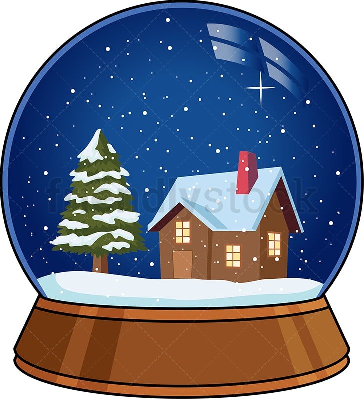 A Christmas Snow.Snow Globe With Christmas Tree And House In It