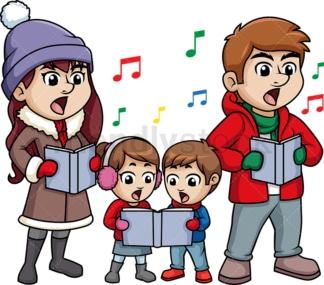 Family singing christmas carols. PNG - JPG and vector EPS (infinitely scalable).