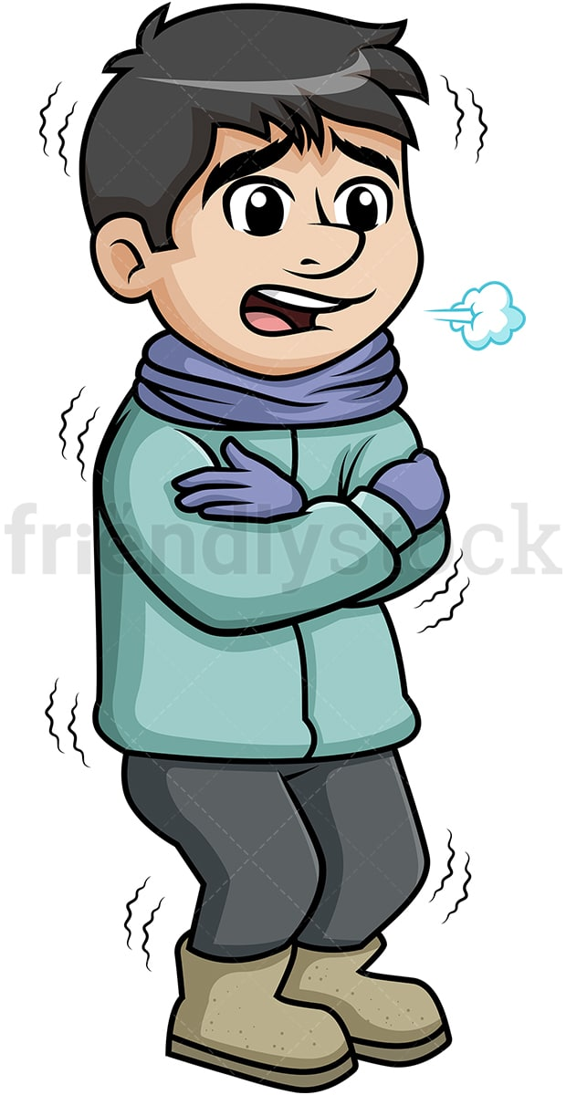 man shivering from winter cold cartoon clipart vector friendlystock