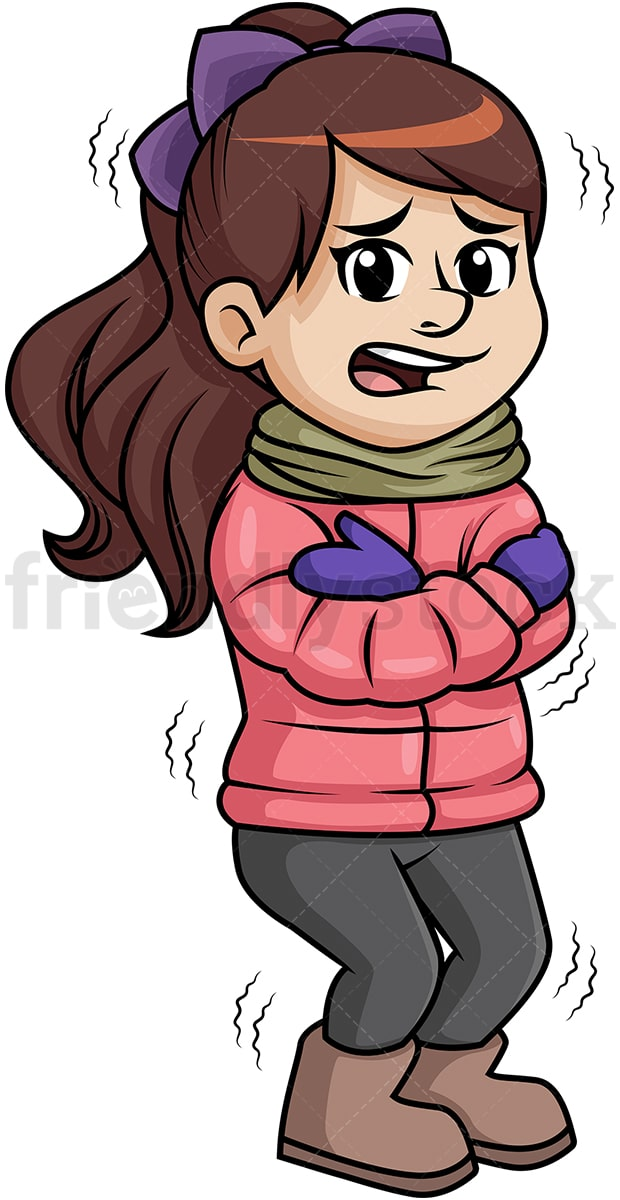 woman shivering from winter cold cartoon clipart vector friendlystock