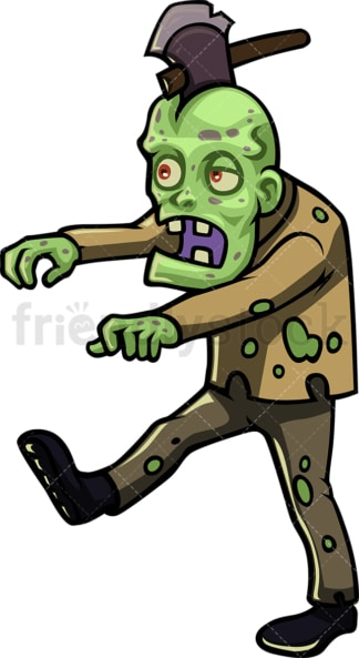 Zombie with axe stuck in head cartoon character. PNG - JPG and vector EPS (infinitely scalable).