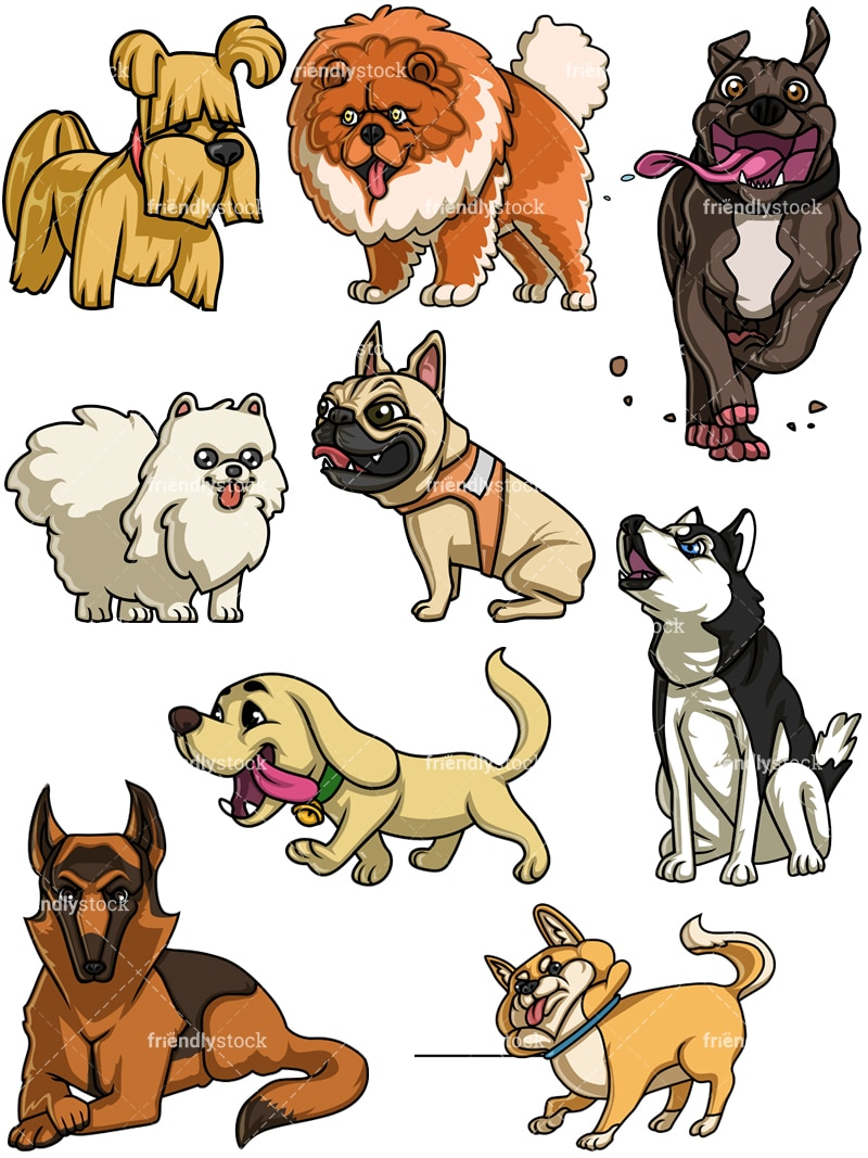 Image of: Png Dogs Collection 5 Vector Cartoon Clipart Friendlystock Dogs Collection Five Cartoon Vector Clipart Friendlystock