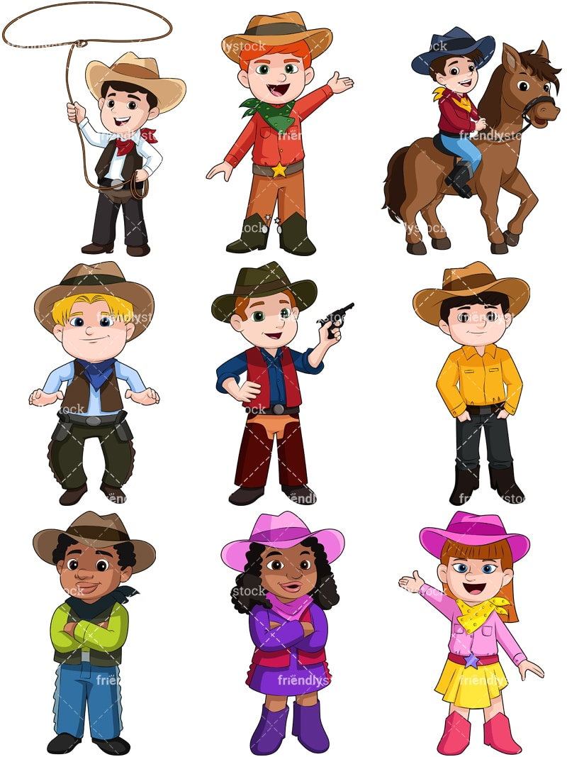 06421099a10 Kids As Cowboys Cartoon Vector Clipart - FriendlyStock